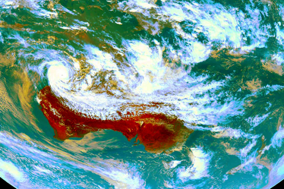 Enhanced weather satellite image of Tropical Cyclone Sam near the north-west coast of Western Australia