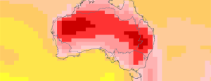 Map of Australia showing projected maximum daily temperature change for 2090 under RCP8.5 from ACCESS
