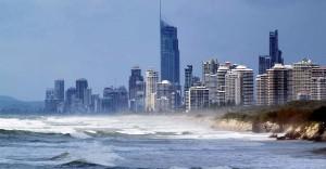 Stormy urban coastline.