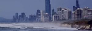 Urban coastline during a storm.