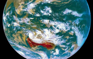 View of Australia on globe from space.