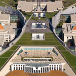 Aerial view of Parliament House, Canberra