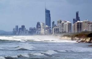 High rise city skyline on coast.