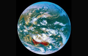 Australia on globe view from space.