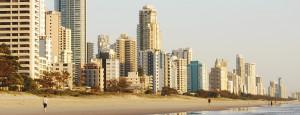 High-rise buildings along a Gold Coast beach