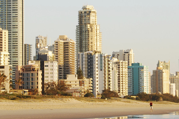 High-rise buildings along a Gold Coast beach