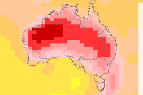 Map of Australia with projected annual temperature increases under RCP8.5 for 2090 from ACCESS model