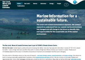 Screen shot of CSIRO sea level, waves and coastal extremes website