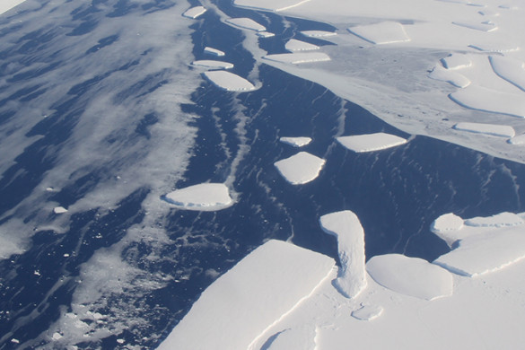 Aerial view of the calving front of an ice shelf in West Antarctica
