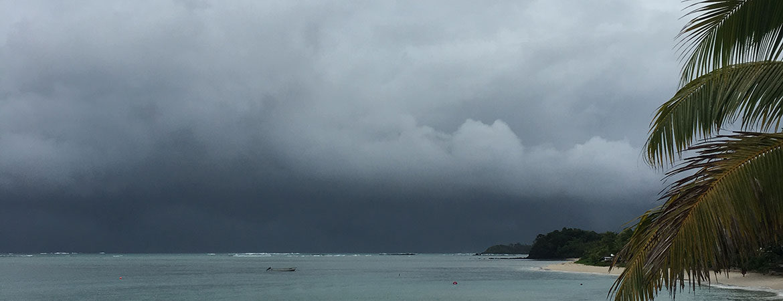 Storm clouds over a beach in Fiji