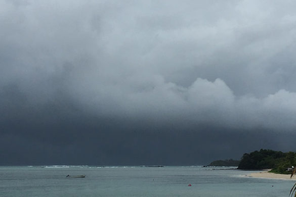 Storm clouds over a beach in Fiji