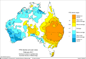 Australian map showing forest fire danger index values for February 2017, with much of eastern Australia as 'highest on record'