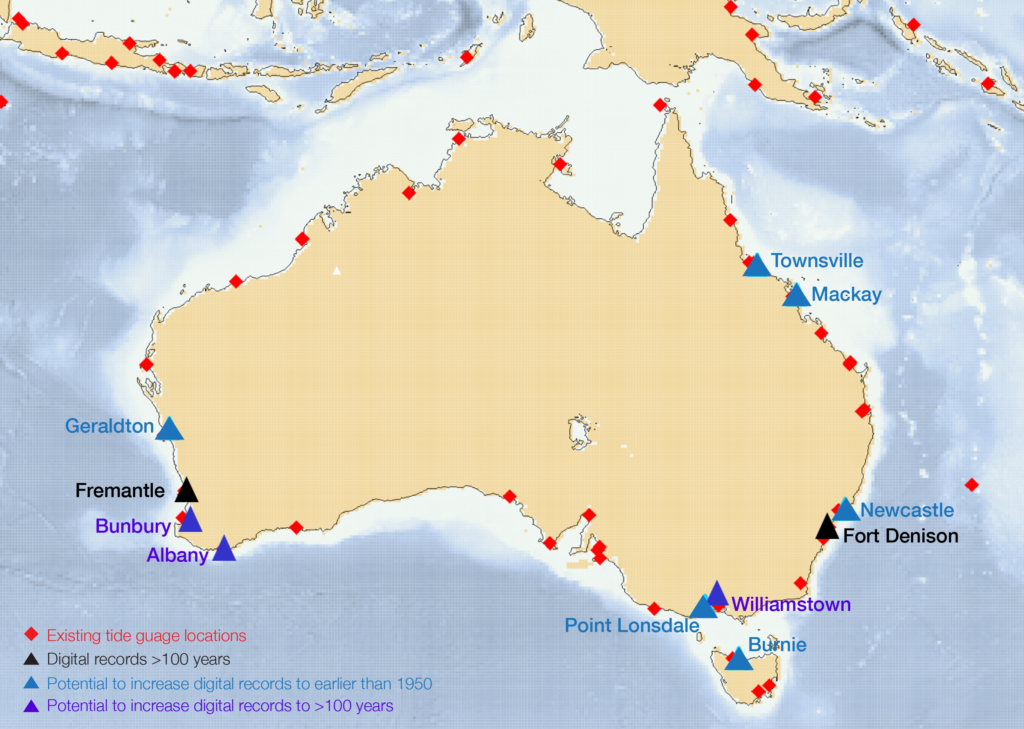 Map showing location of current and historical tide records around Australia